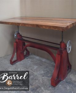 Bargain Barrel Wine Barrel Furniture Sales – Big Red Crank Table Image 1