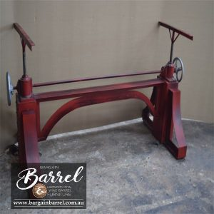 Bargain Barrel Wine Barrel Furniture Sales – Big Red Crank Table Image 2