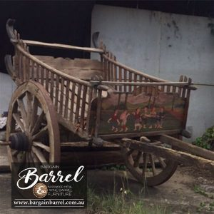 Bargain Barrel Wine Barrel Furniture Sales – Drawn Cart Large Image 1