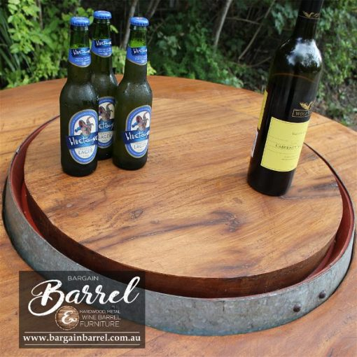 Bargain Barrel Wine Barrel Furniture Sales – Hardwood Lid Image 1