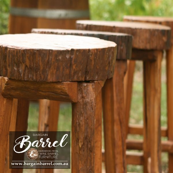 Bargain Barrel Wine Barrel Furniture Sales – Hardwood Log Stool Image 1