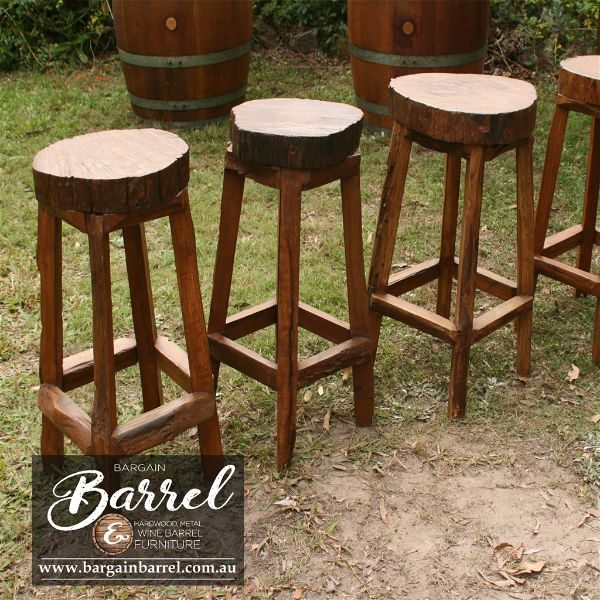 Bargain Barrel Wine Barrel Furniture Sales – Hardwood Log Stool Image 2