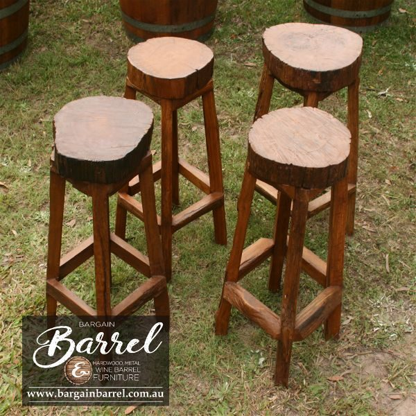 Bargain Barrel Wine Barrel Furniture Sales – Hardwood Log Stool Image 3