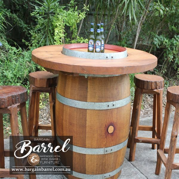 Bargain Barrel Wine Barrel Furniture Sales – Hardwood Log Stool Image 4