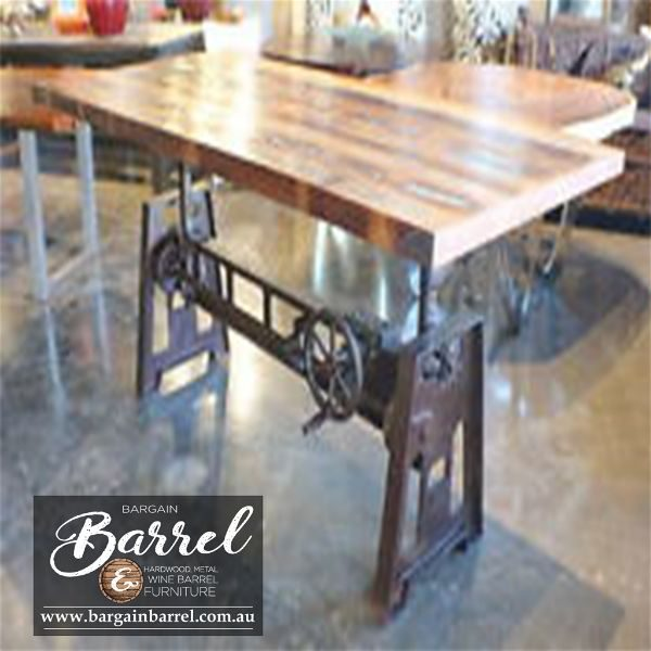 Bargain Barrel Wine Barrel Furniture Sales – Jett Crank Table Image 1