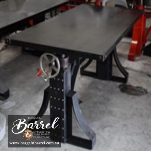 Bargain Barrel Wine Barrel Furniture Sales – Ned Kelly Crank Table Image 1