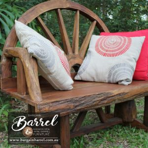 Bargain Barrel Wine Barrel Furniture Sales – Wagon Wheel Bench Seat Image 1