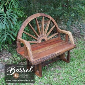 Bargain Barrel Wine Barrel Furniture Sales – Wagon Wheel Bench Seat Image 2