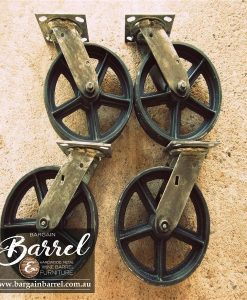 Bargain Barrel Wine Barrel Furniture Sales – Antique Trolley Wheels 4 Pack
