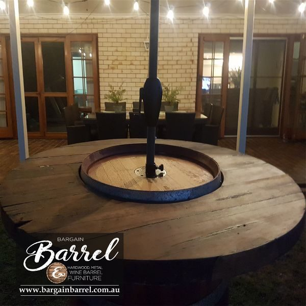 Bargain Barrel Wine Barrel Furniture Sales – Barrel Bar Umbrella Logo Image 3