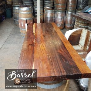 Bargain Barrel Wine Barrel Furniture Sales – Hardwood Table Top Image 2