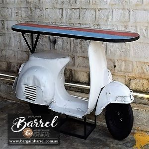 Bargain Barrel Wine Barrel Furniture Sales – Scooter Table White Image 1