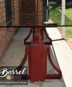 Bargain Barrel Wine Barrel Furniture Sales – Big Red Crank Table Image 6