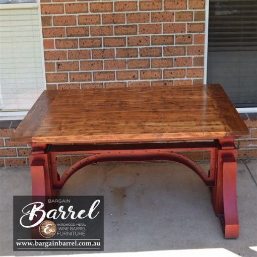 Bargain Barrel Wine Barrel Furniture Sales – Big Red Crank Table Image 8