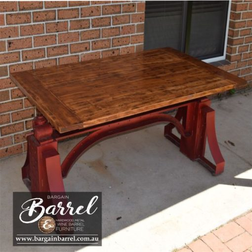 Bargain Barrel Wine Barrel Furniture Sales – Big Red Crank Table Image 9
